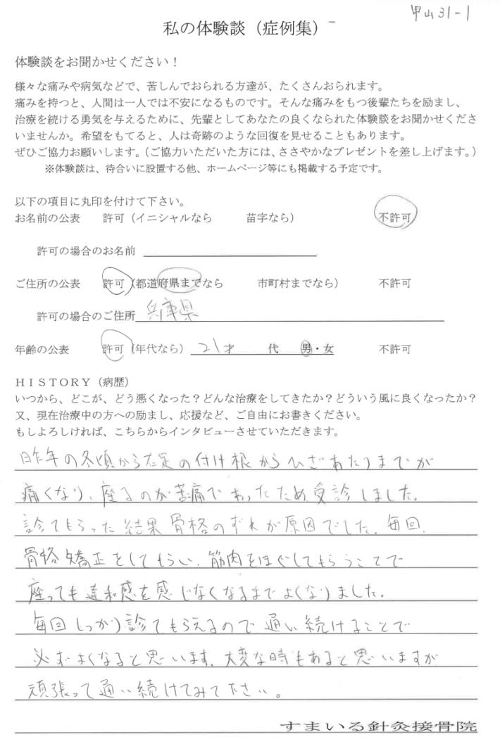 匿名様 兵庫県 21歳 男性 右大腿部の痛み