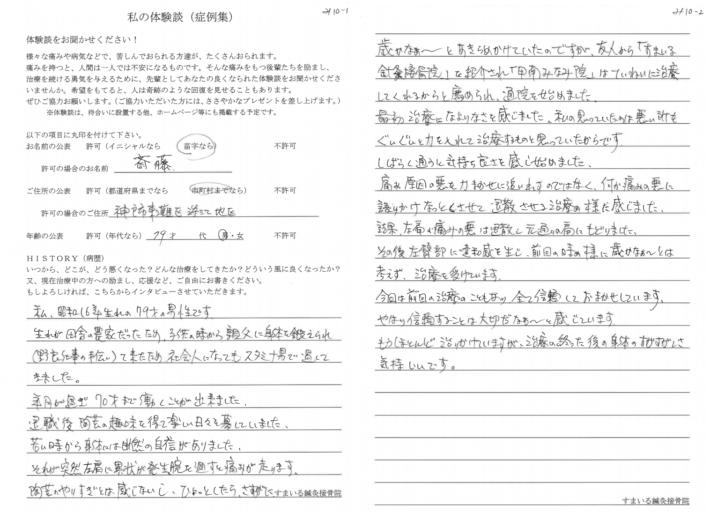 斎藤様 神戸市東灘区深江地区  79歳  男性 肩の痛み