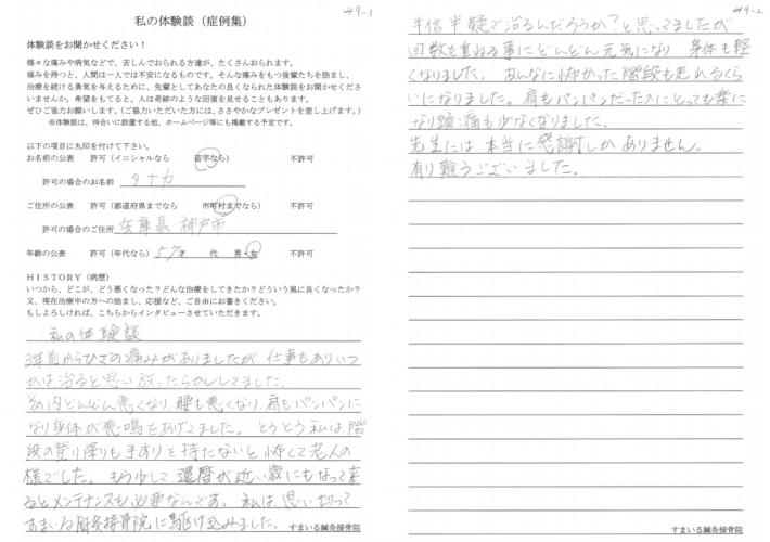たなか様 兵庫県神戸市 57歳 女性 膝痛