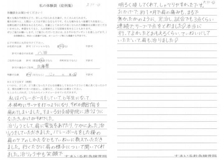 八田様 兵庫県 12歳 女性 肩の痛み